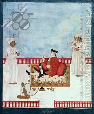 A European Seated on a Terrace with Attendants, c.1760-63 by Dip Chand - Reproduction Oil Painting