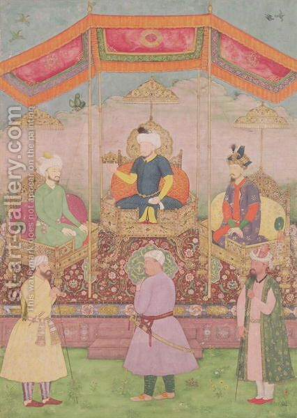Mughal Emperor Babur and his son, Humayan, Indian miniature from Rajasthan, 16th century by Dip Chand - Reproduction Oil Painting