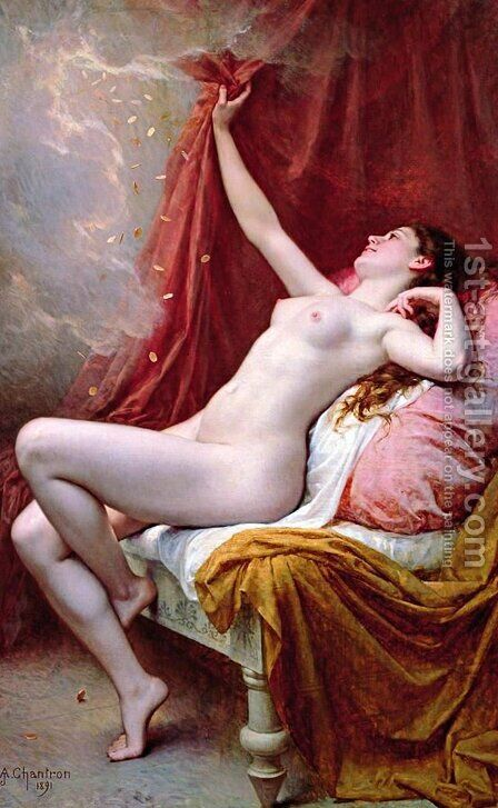 Danae, 1891 by Alexandre-Jacques Chantron - Reproduction Oil Painting
