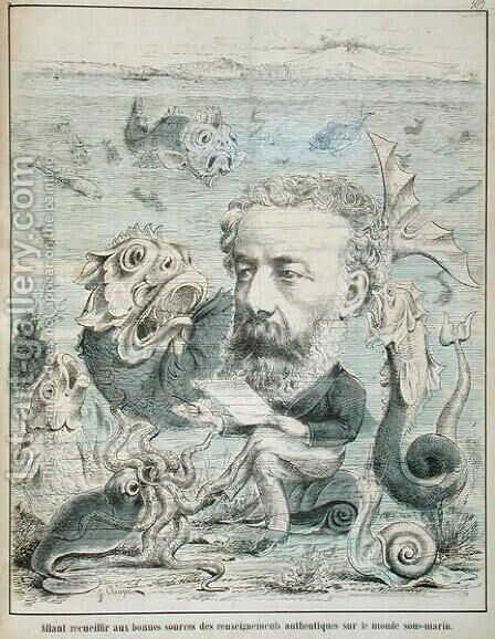 Jules Verne (1828-1905) studying life at the bottom of the sea, caricature from 'L'Algerie Comique et Pittoresque' magazine , Oran 1883 by J. Chape - Reproduction Oil Painting