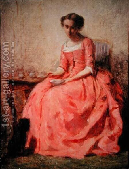 Girl in a pink dress at a table by Charles Chaplin - Reproduction Oil Painting