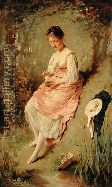 Young Girl with a Nest, late 1860s by Charles Chaplin - Reproduction Oil Painting