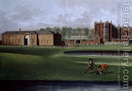 View of Temple Newsam House (detail of the riding school) c.1750 by James Chapman - Reproduction Oil Painting