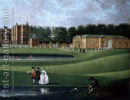 View of Temple Newsam House, detail of the stable block, c.1750 by James Chapman - Reproduction Oil Painting