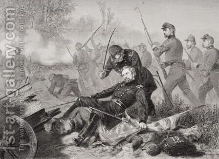 Death of General Isaac Stevens (1818-62) during the attack on Chantilly, Viriginia 1862 by Alonzo Chappel - Reproduction Oil Painting