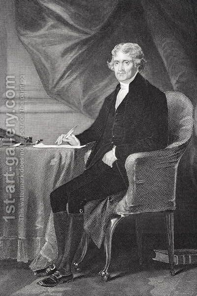 Portrait of Thomas Jefferson (1743-1826) by Alonzo Chappel - Reproduction Oil Painting