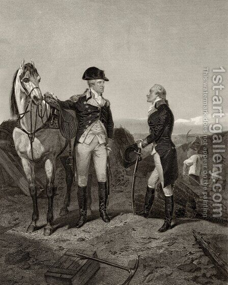 First meeting of George Washington and Alexander Hamilton, from 'Life and Times of Washington', Volume I, 1857 by Alonzo Chappel - Reproduction Oil Painting