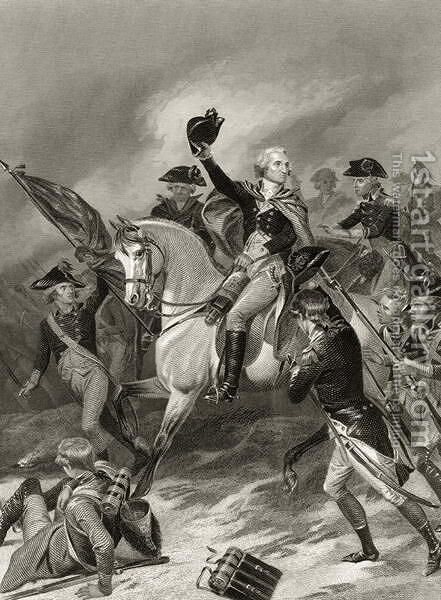 George Washington at the Battle of Princeton, January 3rd 1777, from 'Life and Times of Washington', Volume I,  1857 by Alonzo Chappel - Reproduction Oil Painting