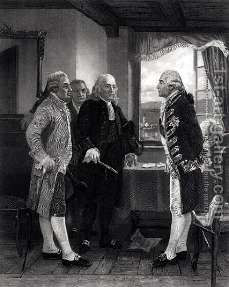 The Peace Conference on Staten Island, Interview between Lord Howe and the Committee of Congress, 11th September 1776 by Alonzo Chappel - Reproduction Oil Painting