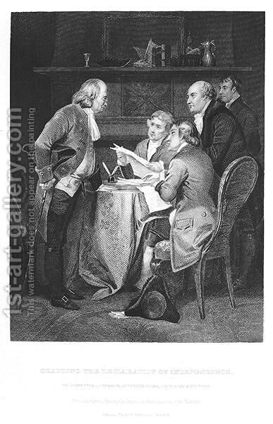 Drafting the Declaration of Independence in 1776, 1859 by Alonzo Chappel - Reproduction Oil Painting