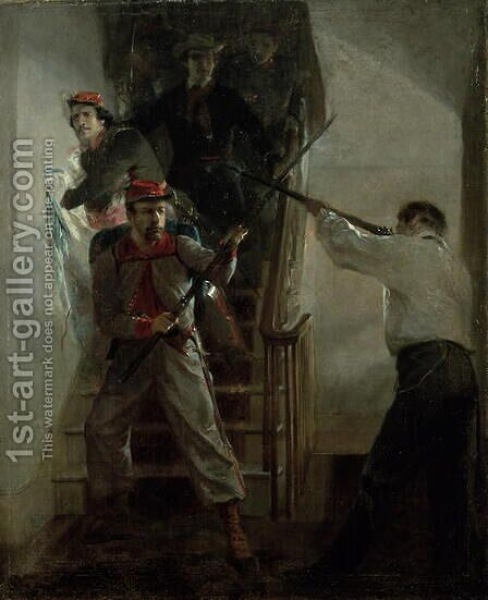 The Death of E. E. Ellsworth by Alonzo Chappel - Reproduction Oil Painting