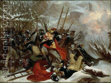 Death of General Richard Montgomery on 31st December 1775, 1865 by Alonzo Chappel - Reproduction Oil Painting