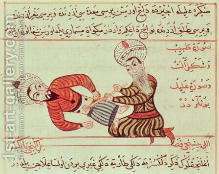 Ms Sup Turc 693 fol.95 Surgical puncture of the abdominal cavity of the aspiration of peritoneal fluid with a canula on a patient suffering from dropsy, 1466 by Charaf-ed-Din - Reproduction Oil Painting