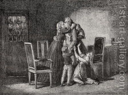 The Royal Family's last Farewell, 20 January 1793, engraved by Carbonneau, from 'Histoire de la Revolution Francaise' by H. de la Charlerie - Reproduction Oil Painting