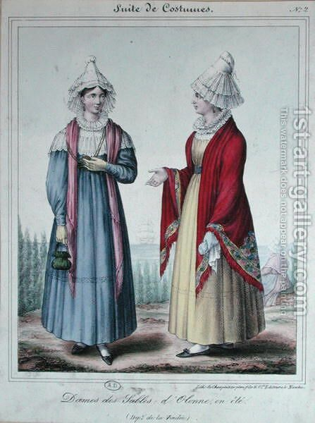 Summer costumes for ladies in the 'Sables-d'Olonne' area, 1845 by Charpentier - Reproduction Oil Painting