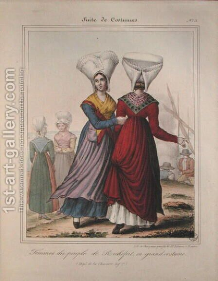 Grand costume for women in the Rochefort area, Charente by Charpentier - Reproduction Oil Painting