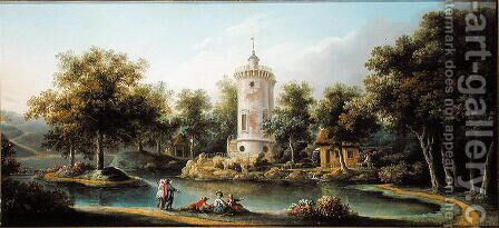 The Tour de Marlborough in the Jardin des Mesdames, Bellevue by Claude Louis Chatelet - Reproduction Oil Painting