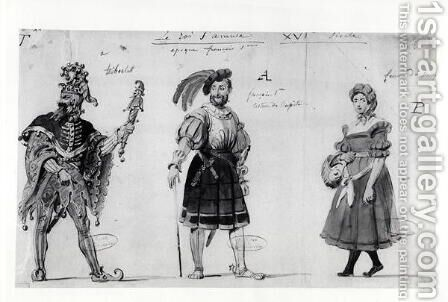 Costume designs for 'Le Roi s'amuse' by Auguste de Chatillon - Reproduction Oil Painting