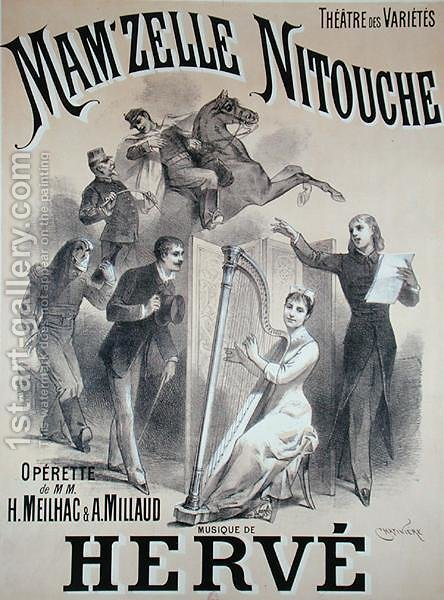 Poster advertising the production of 'Mam'zelle Nitouche', an operetta written by Meilhac and Millaud with music by Herve (1826-92), at the Theatre des Varietes, Paris, 1883 by Antonin Marie Chatiniere - Reproduction Oil Painting