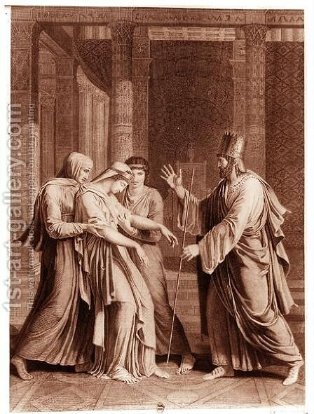 Esther Before Assuerus, illustration from 'Esther' by Antoine Denis Chaudet - Reproduction Oil Painting