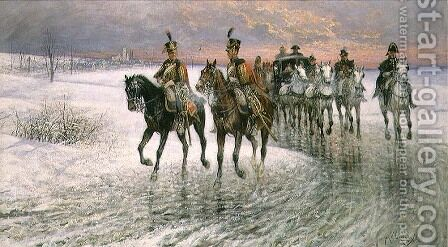 An Escort of the 4th French Hussars by Jan van Chelminski - Reproduction Oil Painting