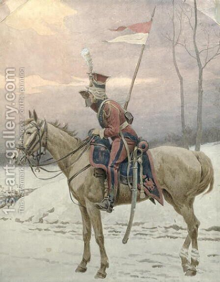 A Lancer of Napoleon's Polish Guards on Winter Patrol by Jan van Chelminski - Reproduction Oil Painting