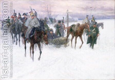 Napoleon's Troops Retreating from Moscow, 1888-89 by Jan van Chelminski - Reproduction Oil Painting