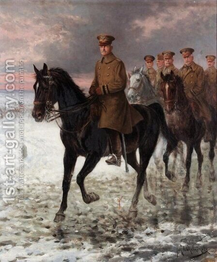General John J. Pershing (1860-1948) by Jan van Chelminski - Reproduction Oil Painting