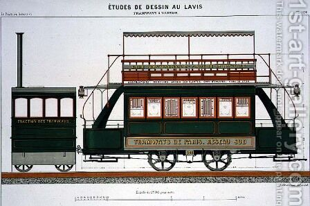 Design for a Steam Tram, plate 126 from 'The Industrial Practitioner' by A. Cheneveau - Reproduction Oil Painting