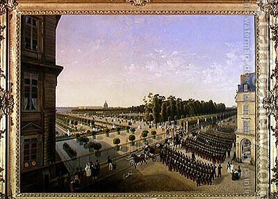 Review of Troops in the Jardin des Tuileries, 1835 by Capitaine Cheret - Reproduction Oil Painting