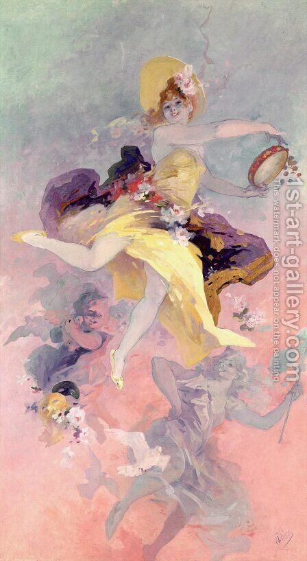 Dancer with a Basque Tambourine by Jules Cheret - Reproduction Oil Painting