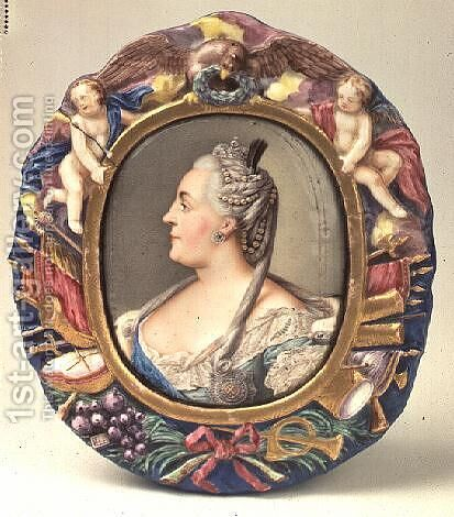 Catherine II (1729-96) after a portrait by Feodor Rokotov, enamel and copper, frame from the Imperial Porcelain Factory, St. Petersburg by Andrei Ivanovich Chernyi - Reproduction Oil Painting