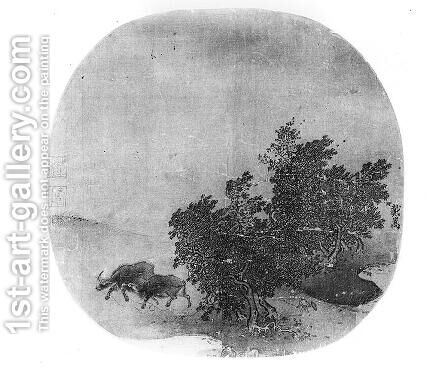 Landscape with water buffalo, Song Dynasty by Anonymous Artist - Reproduction Oil Painting