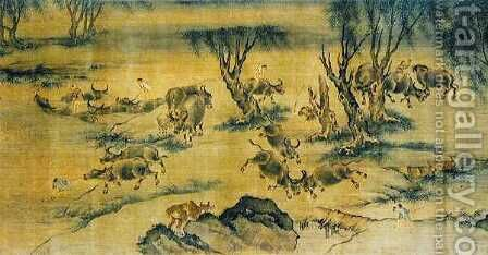 Water Buffaloes and Herd Boys, Chinese, 1368-1463 by Anonymous Artist - Reproduction Oil Painting