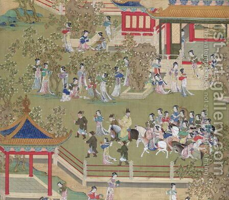 Emperor Yang Ti (581-618) strolling in his gardens with his wives, from a history of Chinese emperors by Anonymous Artist - Reproduction Oil Painting