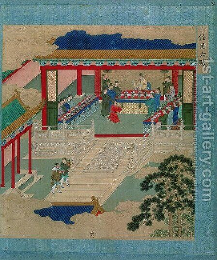 Emperor Hui Tsung (r.1100-26) taking part in a festival in which he drinks from a cup made of precious stone, from a history of Chinese emperors by Anonymous Artist - Reproduction Oil Painting