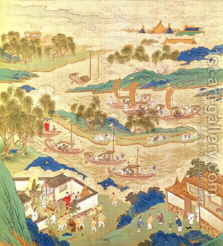 Emperor Hui Tsung (r.1100-26) transporting pierced stones and strange shaped trees, from a History of the Emperors of China by Anonymous Artist - Reproduction Oil Painting