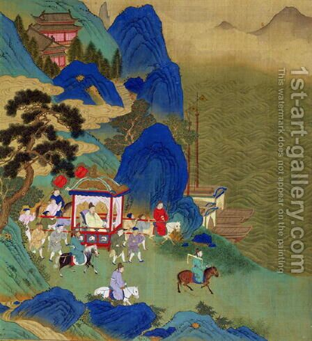 Emperor Ch'in Wang Ti (221-206 BC) travelling in a palanquin, from a history of Chinese emperors by Anonymous Artist - Reproduction Oil Painting