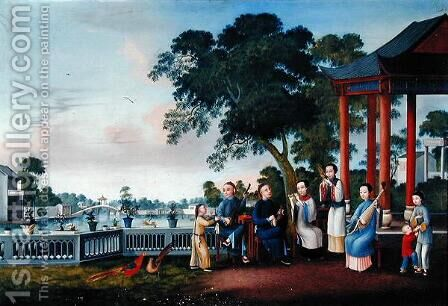 A Music Party on a Lakeside Terrace, c.1790 by Anonymous Artist - Reproduction Oil Painting