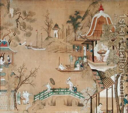 Detail of the wallpaper in the Chinese bedroom depicting a daily life scene, c.1760 by Anonymous Artist - Reproduction Oil Painting