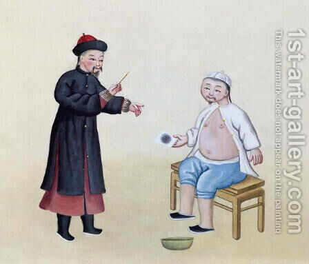 An Acupuncturist with his patient, c.1785 by Anonymous Artist - Reproduction Oil Painting