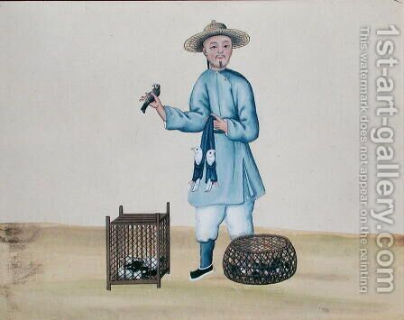 The Pigeon Seller, from a book on the street calls of Peking, c.1785 by Anonymous Artist - Reproduction Oil Painting