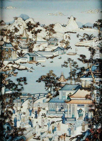 Panels depicting figures on a terrace, Qianlong period, 1736-95 by Anonymous Artist - Reproduction Oil Painting