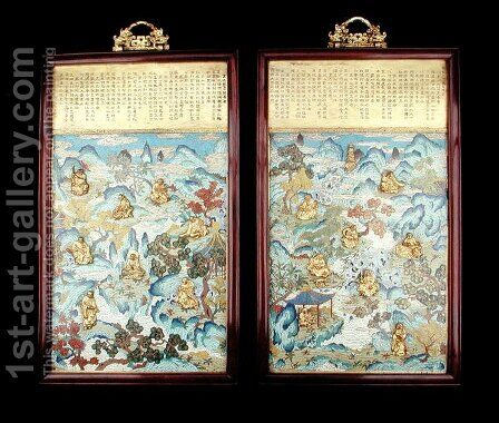 Pair of plaques depicting buddhist figures in a Chinese landscape, Qianlong period, 1736-95 by Anonymous Artist - Reproduction Oil Painting