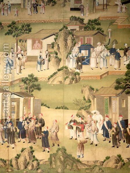 Detail of wallpaper depicting a funeral procession, 1780 by Anonymous Artist - Reproduction Oil Painting