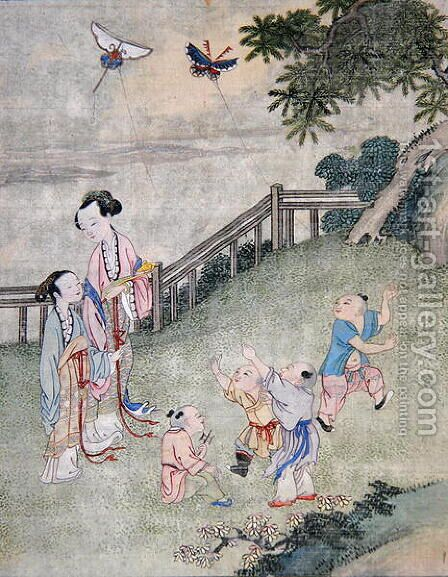 Children playing with kites by Anonymous Artist - Reproduction Oil Painting