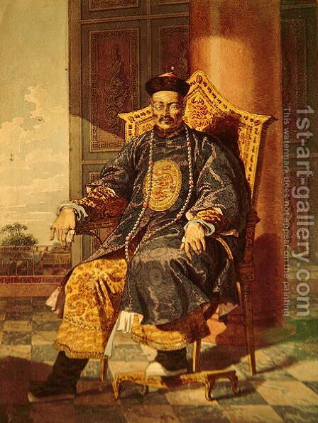 Portrait of Tchien Lung Emperor, 1793 by Anonymous Artist - Reproduction Oil Painting