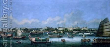 View of the Waterfront at Canton, c.1855 by Anonymous Artist - Reproduction Oil Painting
