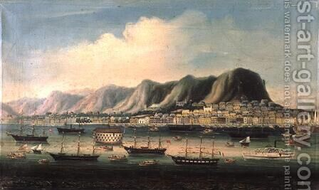 View of Hong Kong, with a Prison Hulk and a Paddlesteamer in the Harbour by Anonymous Artist - Reproduction Oil Painting