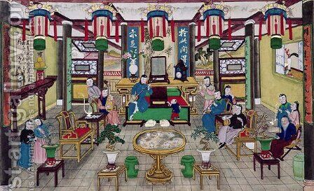A Room in the House of Mr. Kong, a Peking Merchant by Anonymous Artist - Reproduction Oil Painting
